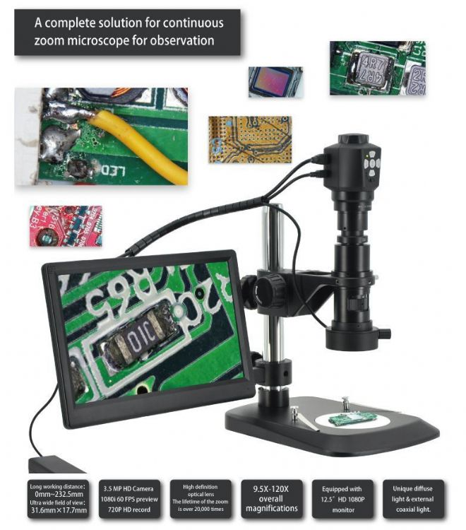 Monozoom Digital Inspection Microscope with Camera HD Live Output with Display - GXM-HD52